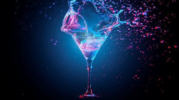Glas mit Farbe