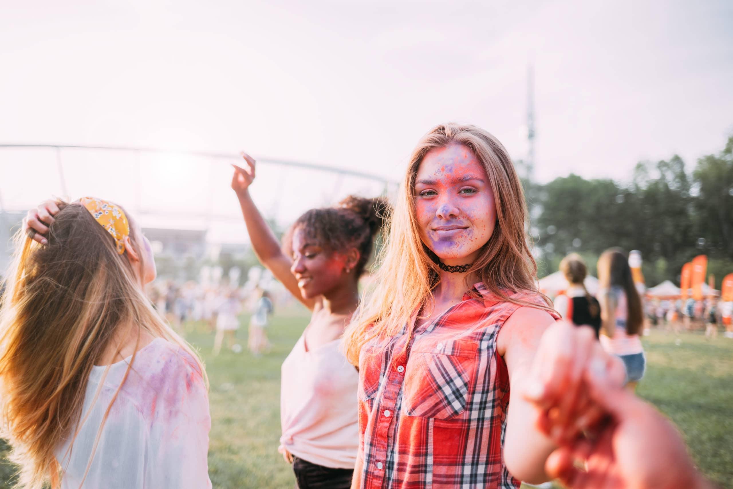 Dancing people at summer holi festival